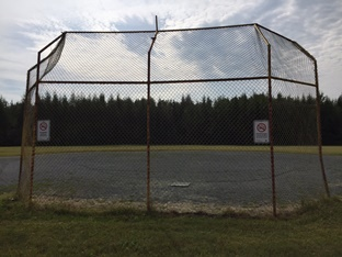Baseball diamond view from the backstop.